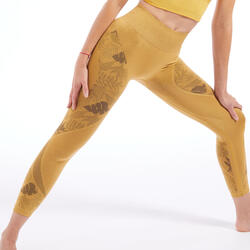 Naadloze 7/8-legging yoga gemêleerd geel