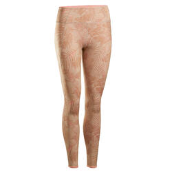 Omkeerbare legging voor dynamische yoga beige/koraalrood