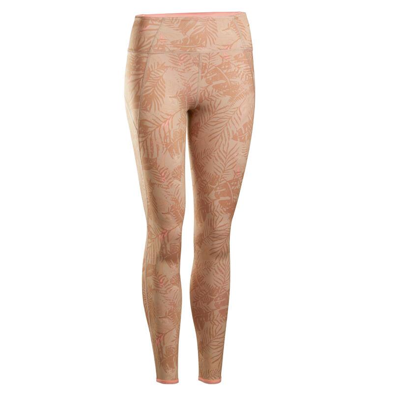 Leggings donna yoga reversibili beige-corallo