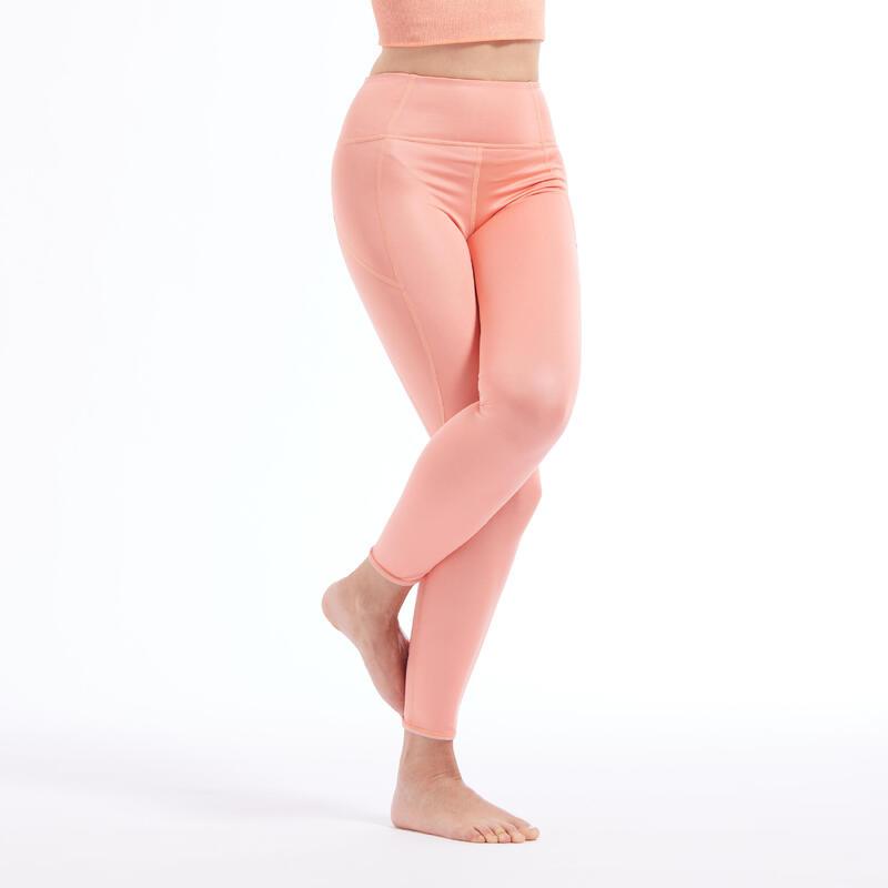 Reversible Dynamic Yoga Leggings - Beige/Coral