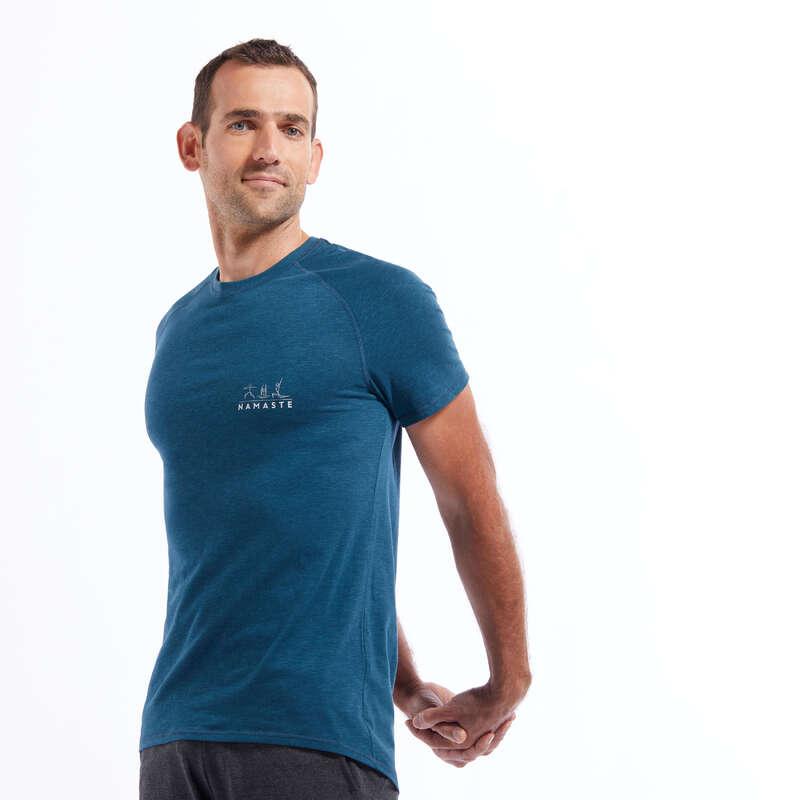 MUŠKA ODJEĆA ZA JOGU Joga - Majica za laganu jogu plava KIMJALY - Majice za jogu