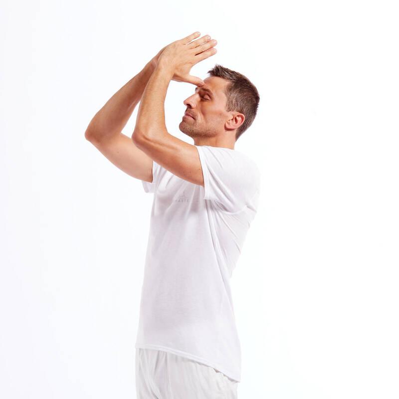 MAN YOGA APPAREL Jóga - PÁNSKÉ TRIČKO NA JÓGU BÍLÉ KIMJALY - Oblečení na jógu
