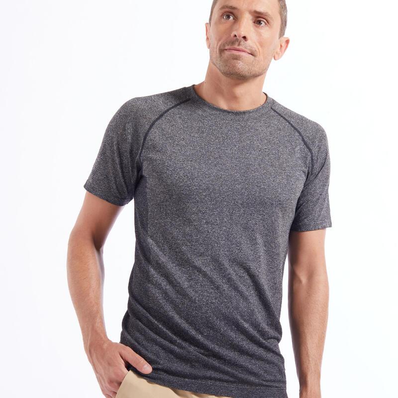 Men's Seamless Short-Sleeved Dynamic Yoga T-Shirt - Dark Grey