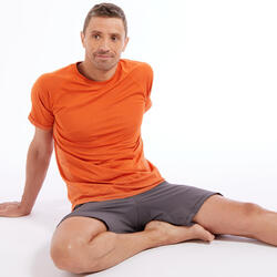 T-shirt voor dynamische yoga heren naadloos korte mouwen oranje