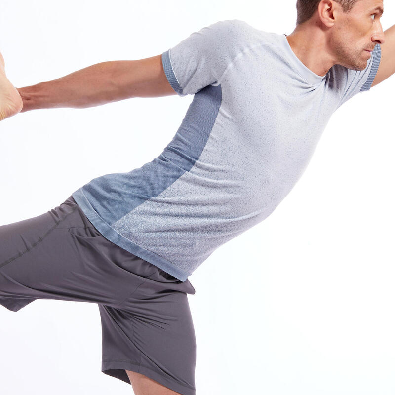 Men's Seamless Short-Sleeved Dynamic Yoga T-Shirt - Blue-Grey