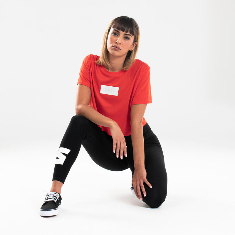 Cropped T-shirt voor streetdance dames rood