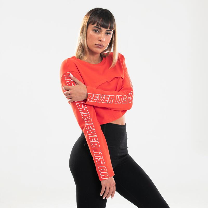 Sweater voor streetdance dames rood aanpasbaar
