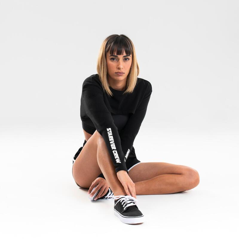 Sweater voor streetdance dames zwart aanpasbaar