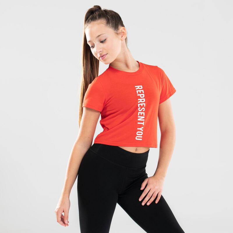 Girls' Draped Modern Dance T-Shirt - Red
