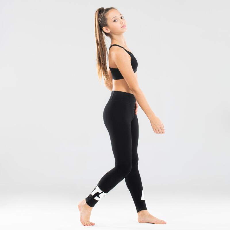 Girls' Modern Dance High-Waisted Leggings - Black Print