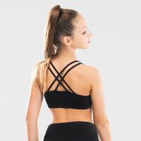 Modern Dance Crop Top With Cross-Over Straps Black - Girls