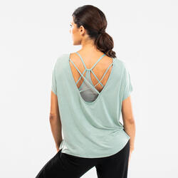 T-shirt de danse moderne vert clair fluide à graphisme femme