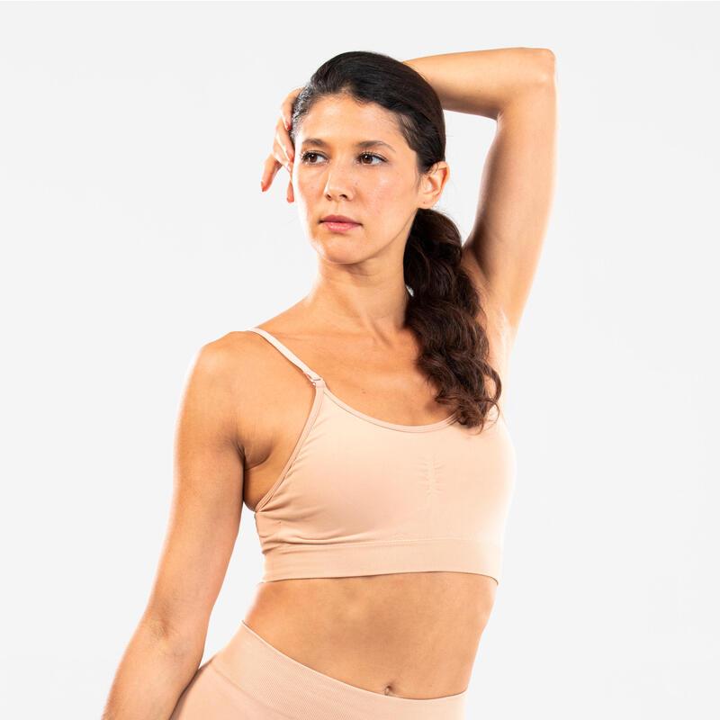 Brassière de danse moderne sans couture beige femme