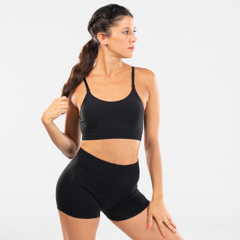 Women's Seamless Modern Dance Sports Bra - Black
