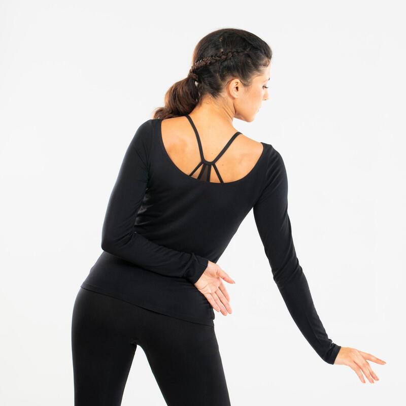 T-shirt donna maniche lunghe danza moderna nera