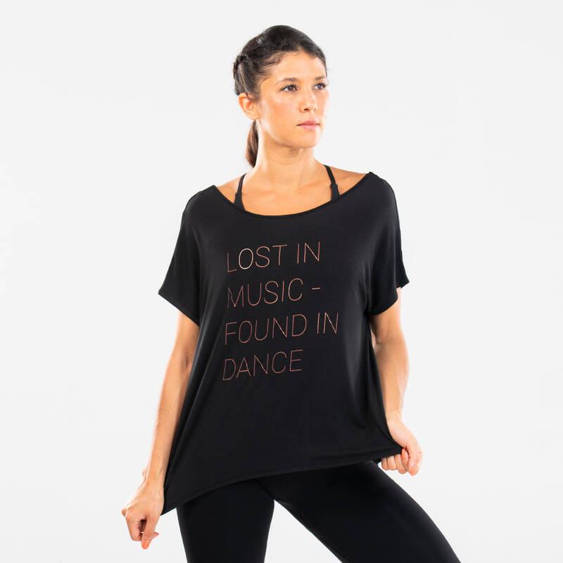 DÁMSKÉ OBLEČENÍ MODERNÍ TANEC, STREET DANCE Moderní tanec - SPLÝVAVÉ TRIČKO S POTISKEM DOMYOS - Moderní tanec