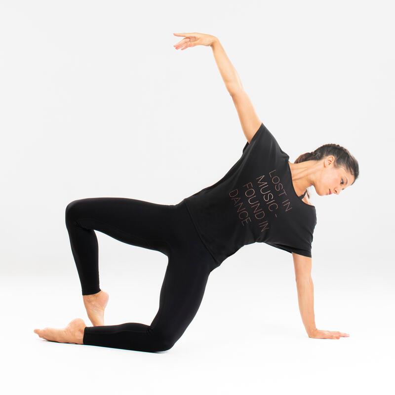 T-shirt de danse moderne noir fluide à graphisme femme
