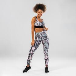 Legging danse fitness rose à graphisme femme