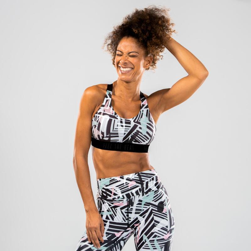 Brassière danse fitness rose à imprimé femme