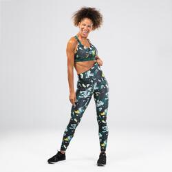 Legging danse fitness jaune à graphisme femme