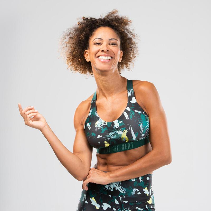 Sujetador-top danza fitness amarillo con estampado mujer