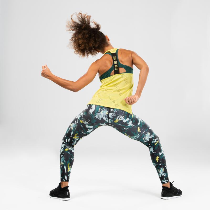 Débardeur de danse fitness ajouré jaune femme