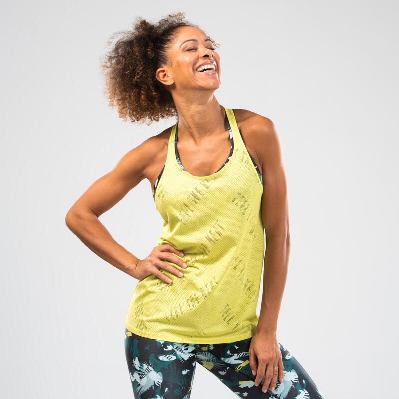Women's Openwork Fitness Dance Tank Top - Yellow