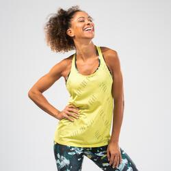 Canotta donna traforata fitness dance gialla