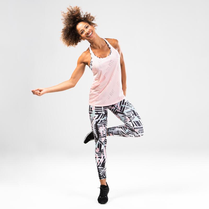 Débardeur de danse fitness ajouré rose femme