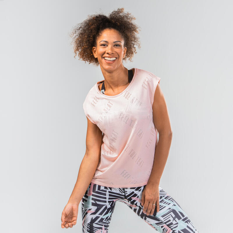 เสื้อยืดผู้หญิงผ้าเนื้อโปร่งสำหรับใส่เต้นออกกำลังกาย (สีชมพู)