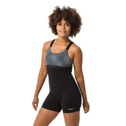 Shorty badpak voor aquafitness Elea Bul zwart/grijs