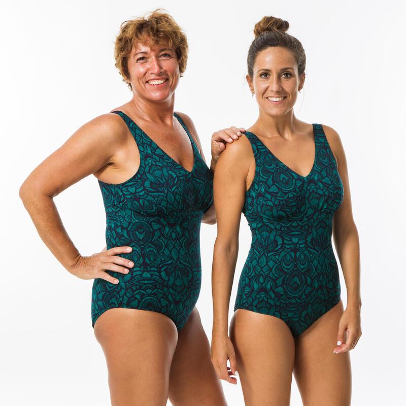 Bañador Deportivo Tallas Grandes Aquagym Mujer Nabaiji Estampado Verde