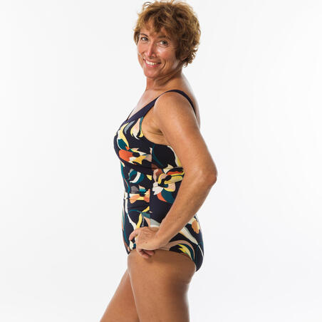 Maillot de bain 1 pièce Aquagym femme Karli Flo  bleu orange