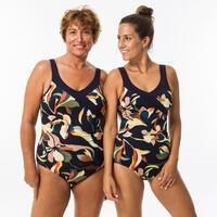 Women's One-Piece Aquafitness Swimsuit Karli Flo -  Blue Orange