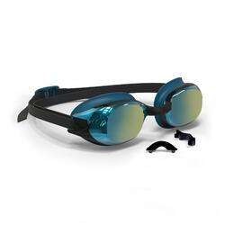Schwimmbrille BFit 500 verspiegelt blau/schwarz