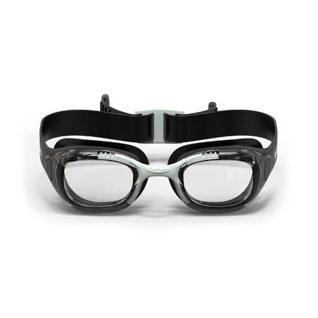 SWIMMING GOGGLES XBASE OPTICAL SHORT-SIGHTEDNESS CORRECTION CLEAR LENSES - BLACK