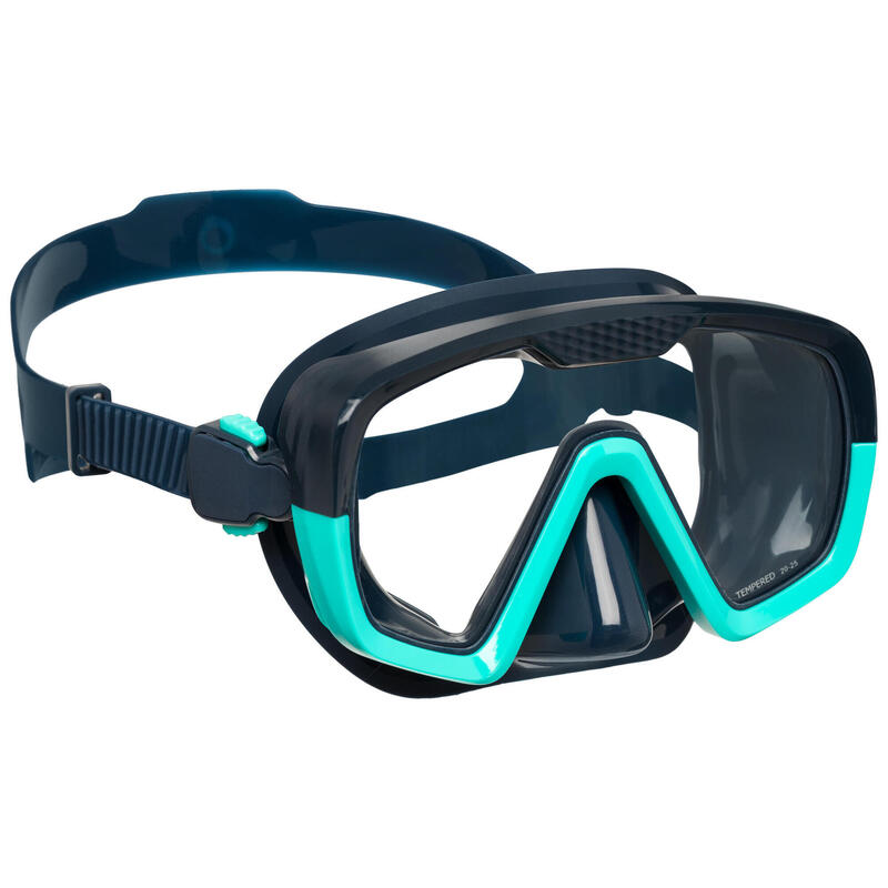 Duikbril voor diepzeeduiken SCD 100 blauwe mantel en tweekleurige rand