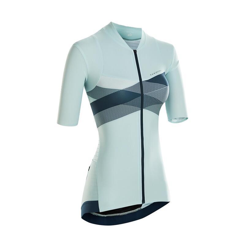 Fietsshirt met korte mouwen voor dames RCR kruis muntgroen