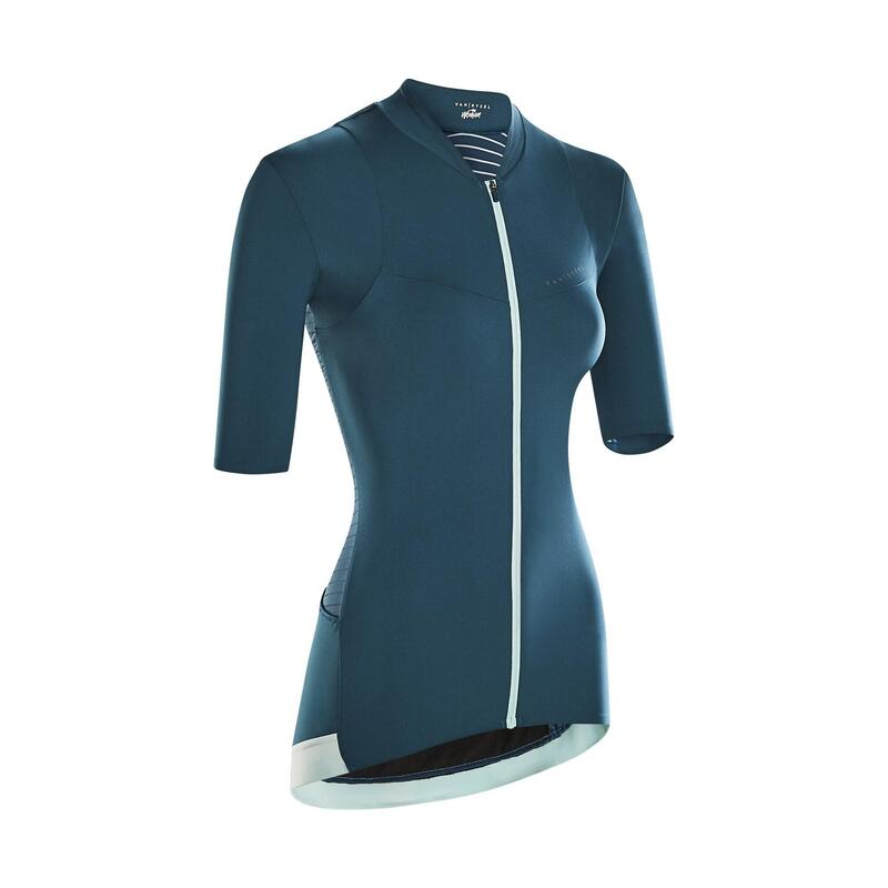 Fietsshirt met korte mouwen voor dames RCR smaragdgroen
