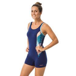 女款水中健身連身式短版泳衣PA Vib - 藍色