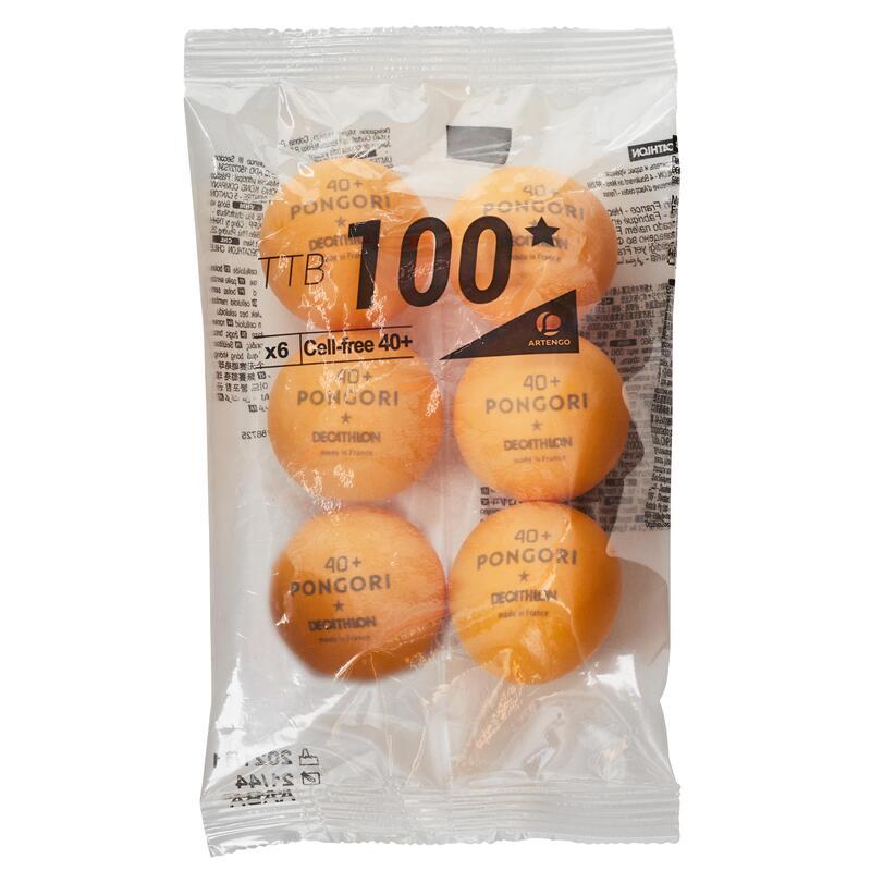 Table Tennis Balls TTB 100 1* 40+ 6-Pack (Made in France) - Orange