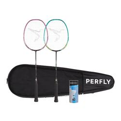ADULT BADMINTON RACKET BR 530 SET COUPLE GREEN PINK