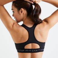 Sujetador-top fitness cardio-training mujer estampado negro y blanco 900