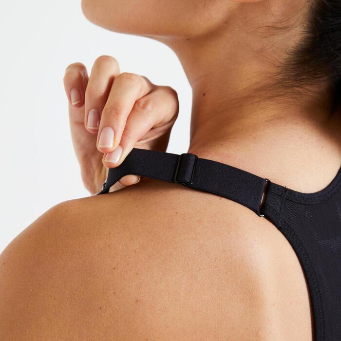 Women's Cardio Fitness Training Bra 900 - Black and White Print
