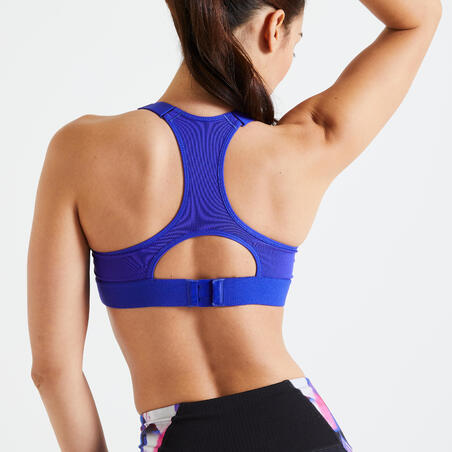 Brassière fitness cardio training femme imprimé blanc et bleu 900