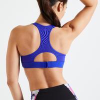 """Sieviešu fitnesa kardio treniņu sporta krūšturis """"900"""", balts/ar zilu apdruku"""