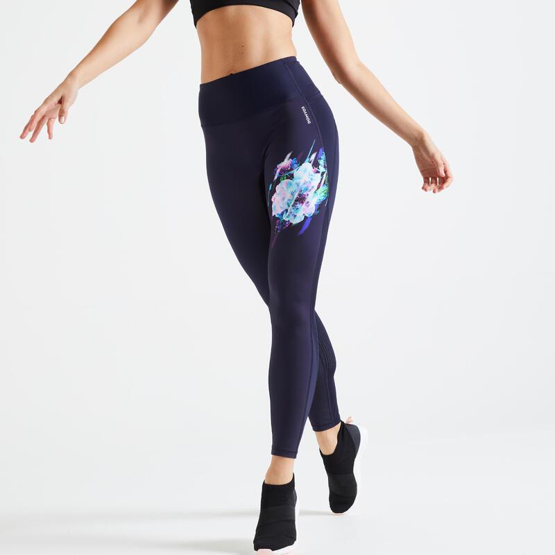 Fitnesslegging met hoge taille afslankend marineblauw