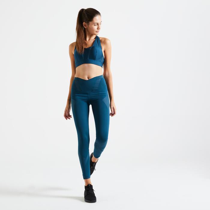 Brassière fitness cardio training femme bleu canard 500