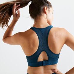 女款有氧健身訓練運動內衣500 - 水鴨藍綠色