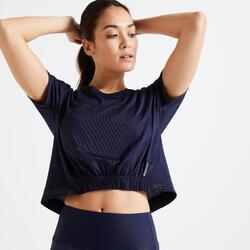 T-shirt Crop top ample Fitness bleu marine